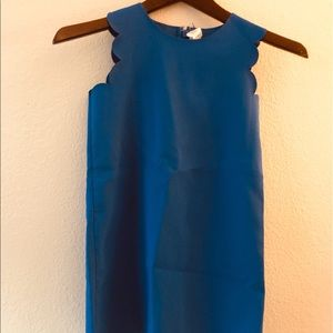Crewcuts solid blue scalloped edge dress